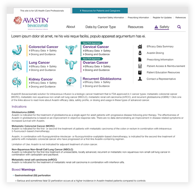 Avastin Website